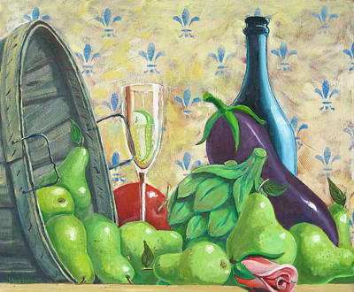 Champagne And Pears Original by D T LaVercombe