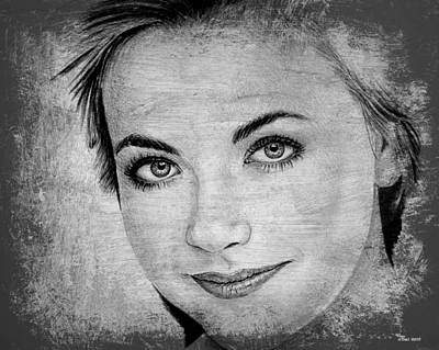 Blue And Grey Drawing - Charlotte Church by Andrew Read