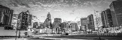 Charlotte Skyline Black And White Panorama Photo Print by Paul Velgos