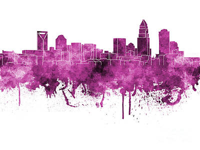 Charlotte Skyline In Pink Watercolor On White Background Print by Pablo Romero