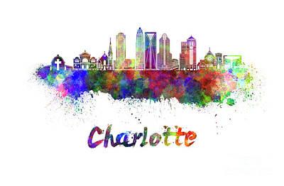Charlotte Skyline In Watercolor Print by Pablo Romero