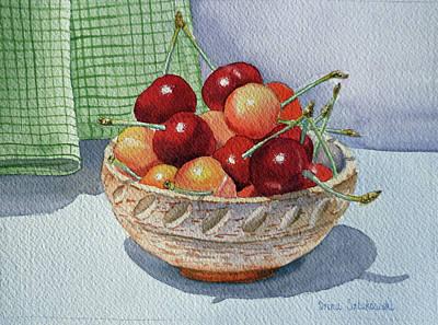 Ceramics Painting - Cherries by Irina Sztukowski