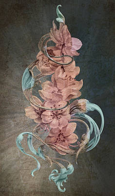 Abstract Digital Drawing - Cherry Blossoms On Blue by Irina Effa