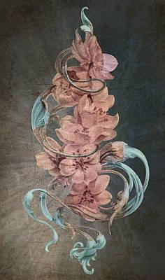 Google Drawing - Cherry Blossoms On Blue by Irina Effa