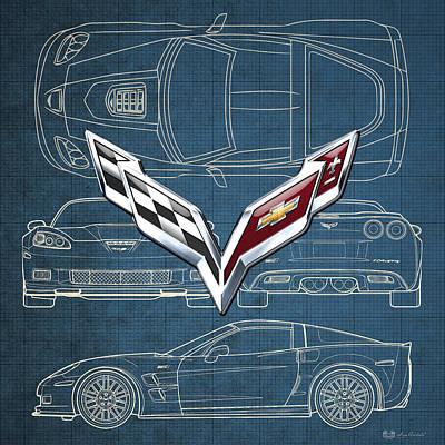 Car Photograph - Chevrolet Corvette 3 D Badge Over Corvette C 6 Z R 1 Blueprint by Serge Averbukh