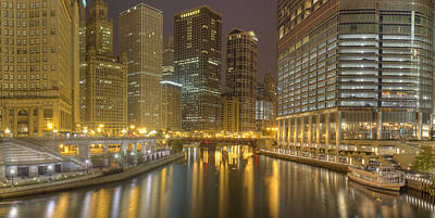 Chicago Skyline Photograph - Chicago River At Night by Twenty Two North Photography