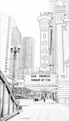 Liza Minnelli Photograph - Chicago Theater Marquee by Ely Arsha