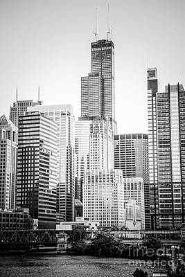 Chicago With Sears Willis Tower In Black And White Print by Paul Velgos