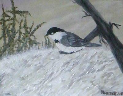 Chickadee Print by Rebecca  Fitchett