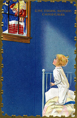 Child Watches As Santa Comes Down Chimney On Christmas Eve Print by American School