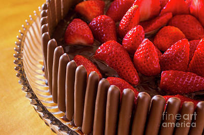 Chocolate And Strawberry Cake Print by Carlos Caetano