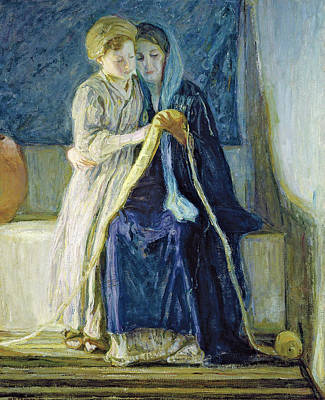 Henry Ossawa Tanner Painting - Christ And His Mother Studying The Scriptures by Henry Ossawa Tanner