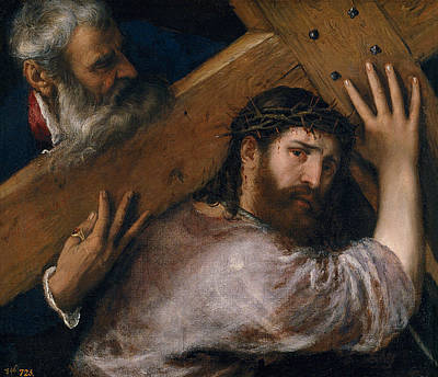 Cross Painting - Christ Carrying The Cross by Titian