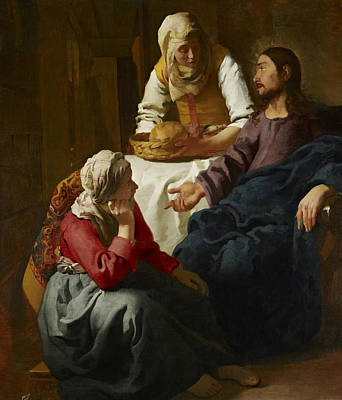 Martha Mary Painting - Christ In The House Of Martha And Mary by Jan Vermeer