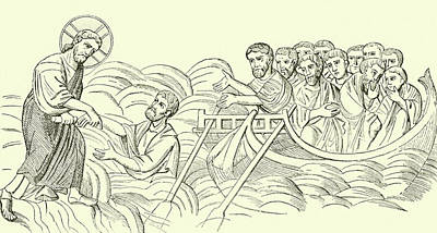New Testament Drawing - Christ Walking On The Water by English School