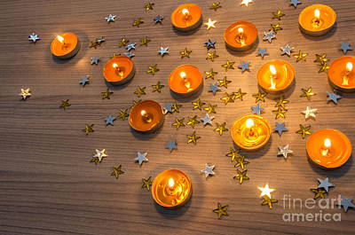 Christmas Candles Print by Carlos Caetano