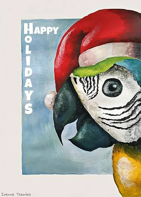 Parrot Painting - Christmas Parrot by Irenne Themba
