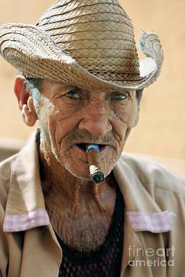 Elderly Photograph - Cigar Smoking - Trinidad - Cuba by Rod McLean