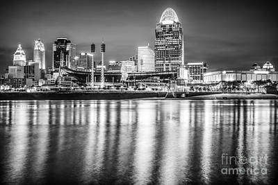 Ohio River Landscapes Photograph - Cincinnati Skyline Black And White Picture by Paul Velgos
