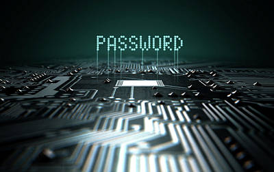 Corruption Digital Art - Circuit Board Projecting Password by Allan Swart