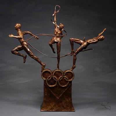 Citius Altius Fortius Olympic Art On Gray Original by Adam Long
