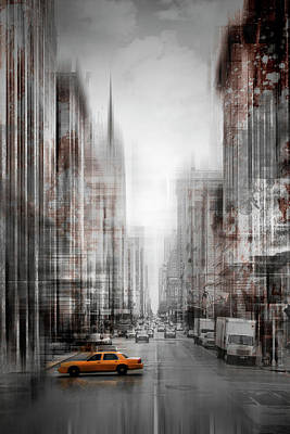 Abstract Movement Digital Art - City-art Nyc 5th Avenue Yellow Cab by Melanie Viola