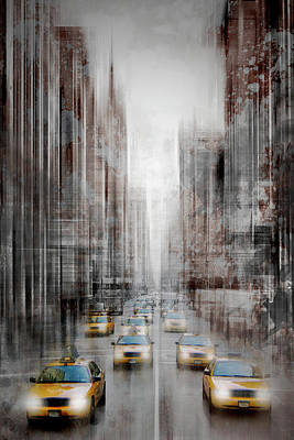 Abstract Movement Digital Art - City-art Nyc 5th Avenue Yellow Cabs by Melanie Viola