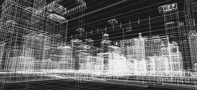 Sketch Photograph - City Buildings Project 3d by Michal Bednarek