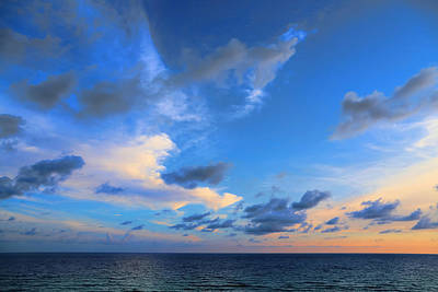 Clouds Drifting Over The Ocean Print by Theresa Campbell