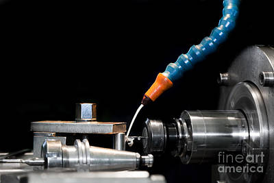 Metal Photograph - Cnc Machining Station At Work by Michal Bednarek