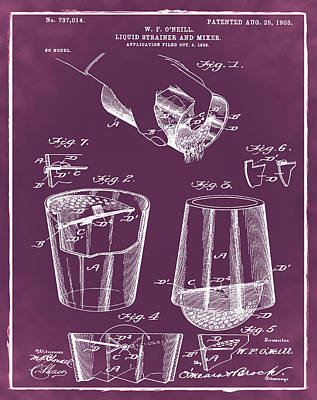 Martini Drawing - Cocktail Mixer Patent 1903 In Chalk by Bill Cannon