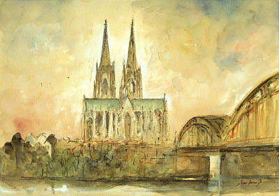 Cologne Cathedral Print by Juan  Bosco
