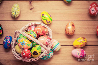 Easter Photograph - Colorful Hand Painted Easter Eggs In Basket And On Wood by Michal Bednarek