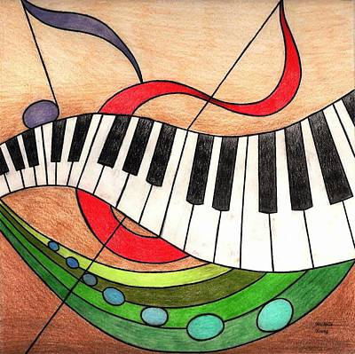 Abstract Collage Drawing - Colorful Music by Michelle Young