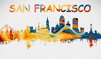 Golden Gate Bridge Mixed Media - Colorful San Francisco Skyline Silhouette by Dan Sproul