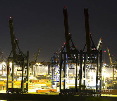 Dock Photograph - Commercial Port At Night  by Dani Prints and Images