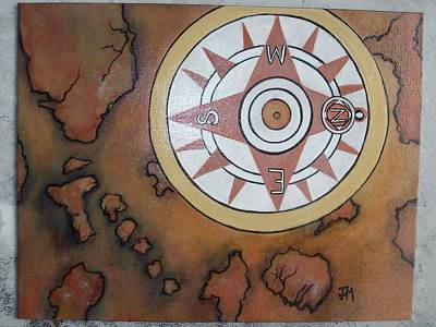 Compass On Old World Map Original by Jessica Meredith