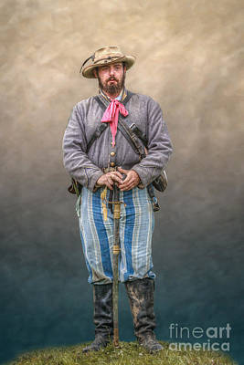 Confederate Soldier With Sword Portrait Print by Randy Steele