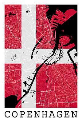 Denmark Digital Art - Copenhagen Street Map - Copenhagen Denmark Road Map Art On Danish Flag by Jurq Studio