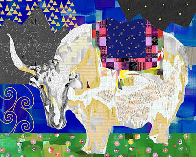 Yak Mixed Media - Stay Curious Cow Collage  by Claudia Schoen