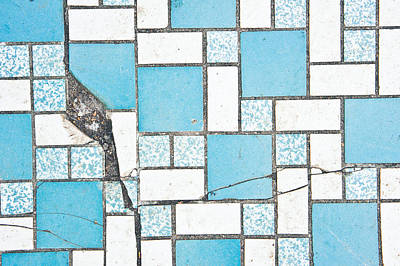 Cracked Tiled Surface Print by Tom Gowanlock