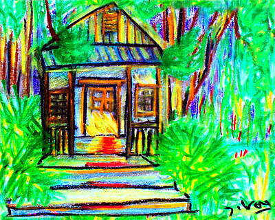Key West Painting - Cracker Shack  by W Gilroy