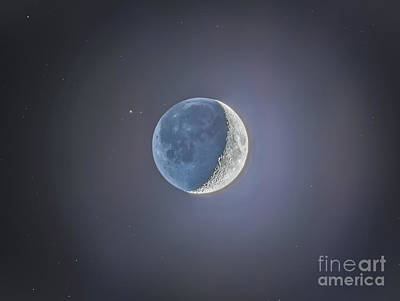 Crescent Moon With Earthshine Print by Alan Dyer