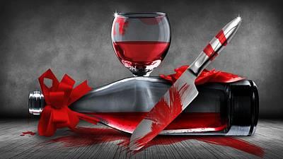 Wine Bottle Paining Digital Art - Crime Scene by FL collection