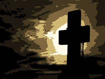 Silhouette Photograph - Cross by Gregory Allen