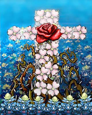 Christian Digital Art - Cross Of Flowers by Kevin Middleton