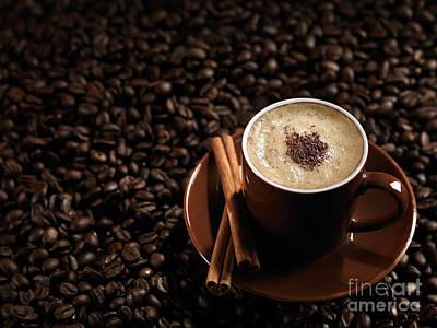 Cup Of Coffe Latte On Coffee Beans Print by Oleksiy Maksymenko