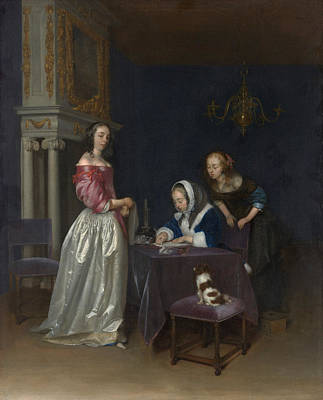 Dog Painting - Curiosity by Gerard ter Borch