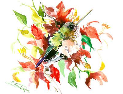 Hummingbird Drawing - Cute Little Hummingbird by Suren Nersisyan