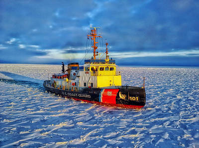 United States Coast Guard Photograph - Cutting Through The Ice On Lake Michigan by Mountain Dreams